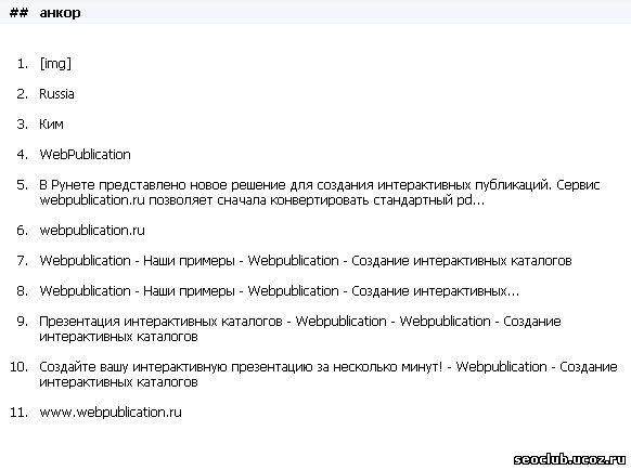просмотр анкоров сайта